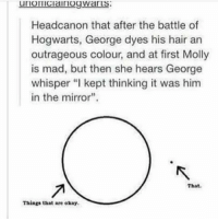 "Memes, Molly, and Hair: Headcanon that after the battle of  Hogwarts, George dyes his hair an  outrageous colour, and at first Molly  is mad, but then she hears George  whisper ""l kept thinking it was him  in the mirror"".  That,  Things that are okay. ••••••• nope nope not okay"