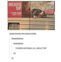 Nothing | (Check link in bio!) funnyfriday funnytumblr tumblr funny tumblrtextpost funnytumblrtextpost funny haha humor hilarious: HEADS  UP  There's nothing  LOL about RIP  IF YOU DRIVE  DON'T TEXT  M-14125  14125  asuka-langley-the-space-pirate  theapplebane:  janksgiving:  THERES NOTHING LOL ABOUT RIP  rip  lol Nothing | (Check link in bio!) funnyfriday funnytumblr tumblr funny tumblrtextpost funnytumblrtextpost funny haha humor hilarious