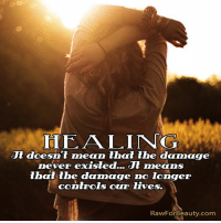 HEALING  doesn't mean that the damage  ver existed... Jt means  that the damage no longer  controls our lives.  RawFor Beauty.com HEALING It doesn't mean that the damage never existed... It means that the damage no longer controls our lives.