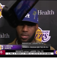 LeBron talks about the Lakers-Rockets fight. 👀 [via @nbatv]: |Health  ANGELES  alth  ROCKETS DEF. LAKERS 124-115  LEBRON  JAMES  RONDO & INGRAM EJECTED IN 4TH  ROCKETS DEFEAT LAKERS 124-115  C. PAUL, B. INGRAM & R. RONDO: ALL EJECTED IN 4TH QTR BRAWL LeBron talks about the Lakers-Rockets fight. 👀 [via @nbatv]