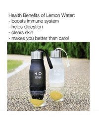 "Funny, Fuck, and Link: Health Benefits of Lemon Water:  boosts immune system  helps digestion  - clears skin  makes you better than carol  H2O  WATER Fuck Carol! Get your infusion bottle 🍋💦 at @ehkgoods for 50% OFF! Plus an additional 10% with code ""SAVE10"" Link in their bio! Tag a friend that NEEDS this!"