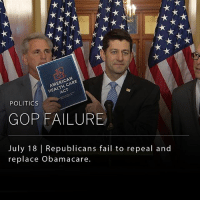 Fail, Memes, and Politics: HEALTH CARE  ACT  AMERICAN  POLITICS  GOP FAILURE  July 18 Republicans fail to repeal and  replace Obamacare. The Senate has voted to repeal Obamacare, but did not gain enough votes to pass the GOP's replacement health care bill. This is the second time the Senate has voted against a version of Trumpcare, largely due to concerns about the effects it would have on the health of more vulnerable citizens.