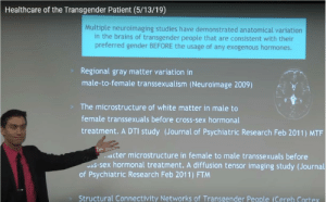 for when people say: 'being trans is against science': Healthcare of the Transgender Patient (5/13/19)  Multiple neuroimaging studies have demonstrated anatomical variation  in the brains of transgender people that are consistent with their  preferred gender BEFORE the usage of any exogenous hormones.  Regional gray matter variation in  male-to-female transsexualism (Neuroimage 2009)  The microstructure of white matter in male to  female transsexuals before cross-sex hormonal  treatment. A DTI study (Journal of Psychiatric Research Feb 2011) MTF  te m  acter microstructure in female to male transsexuals before  Jas-sex hormonal treatment. A diffusion tensor imaging study (Journal  of Psychiatric Research Feb 2011) FTM  Structural Connectivity Networks of Transgender People (Cereb Cortex for when people say: 'being trans is against science'