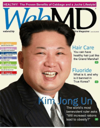 "Dank, webMD, and Ruler: HEALTHY! The Proven Benefits of Cabbage and a Juche Lifestyle!  webmed.kp  the Magazine  2011$495  Hair Care  You can have  22 parenting  healthy hair just like  the Grand Marshal!  Fluoride  What is it, and why  is it banned in  True Korea?  44  in Jong Un  The world's most  benevolent ruler asks  ""Will increasd rations  lead to obesity?"" Thank to WebMD magazine to hosting interview."