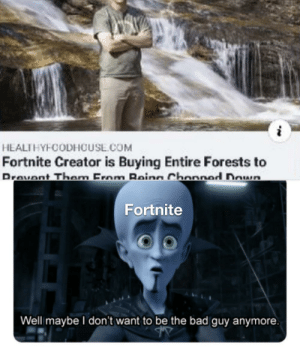 Maybe it is good: HEALTHYFCODHOUSL.COM  Fortnite Creator is Buying Entire Forests to  Drovont Them From Beina Chonned Down  Fortnite  Well maybe I don't want to be the bad guy anymore. Maybe it is good