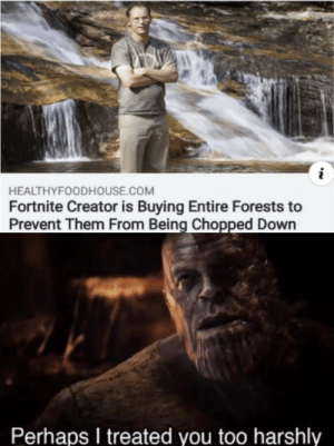 I forgive them: HEALTHYFOODHOUSE.COM  Fortnite Creator is Buying Entire Forests to  Prevent Them From Being Chopped Down  Perhaps I treated you too harshly I forgive them