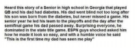 """Dad, Espn, and School: Heard this story of a Senior in high school in Georgia that played  QB and his dad had diabetes. His dad went blind not too long after  his son was born from the diabetes, but never missed a game. His  senior year he led his team to the playoffs and the day after the  semifinal game his dad passed away. Surprising everyone, he  dominated in the state title game. ESPN guys shocked asked him  how he made it look so easy, and with a humble voice he said  """"This is the first time my dad has seen me play"""" This gave me chills 🏈 https://t.co/0ZpNfi2Mme"""