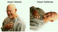 I didn't get it at first but i died when i figured it out: Heart Attack  Heart Defense I didn't get it at first but i died when i figured it out