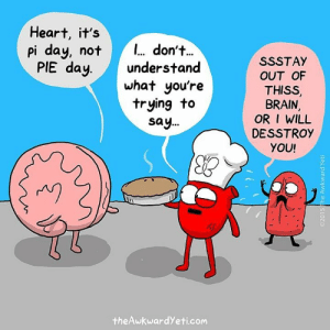 Memes, Brain, and Heart: Heart, it's  pi day, not  PIE day  don'+.  understand  what you're  trying to  say...  SSSTAY  OUT OF  THISS  BRAIN,  OR I WILL  DESSTROY  YOU!  rAV9  theAwkwardYeti.com #piday