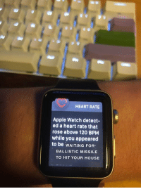 """Apple, Apple Watch, and Good: HEART RATE  Apple Watch detect-  ed a heart rate that  rose above 120 BPM  while you appeared  to be wAITING FOR-  BALLISTIC MISSILE  TO HIT YOUR HOUSE <p>Should be a good short term investment via /r/MemeEconomy <a href=""""http://ift.tt/2FAIpsu"""">http://ift.tt/2FAIpsu</a></p>"""