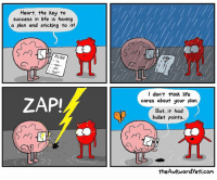 Change of plans: Heart, the key to  success in life is having  a plan and sticking to it!  PLAN  LL  ZAPI  LL  I don't think life  cares about your plan  But it had  bullet points...  the Awkward yeti.com Change of plans