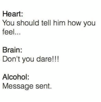 Every week promising myself I will never drink again: Heart:  You should tell him how you  feel  Brain:  Don't you dare!!!  Alcohol:  Message sent. Every week promising myself I will never drink again