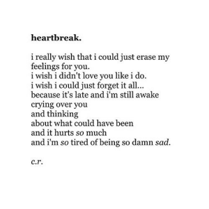 https://iglovequotes.net/: heartbreak.  i really wish that i could just erase my  feelings for you.  i  i wish i didn't love you like i do.  i wish i could just forget it al...  because it's late and i'm still awake  crying over you  and thinking  about what could have been  and it hurts so much  and i'm so tired of being so damn sad.  c.r. https://iglovequotes.net/