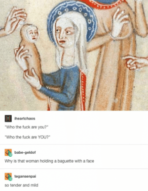 """Fuck, Mild, and Baby: heartchaos  """"Who the fuck are you?""""  Who the fuck are YOU?""""  babe-geldof  Why is that woman holding a baguette with a face  tegansenpai  so tender and mild Baby Pics"""