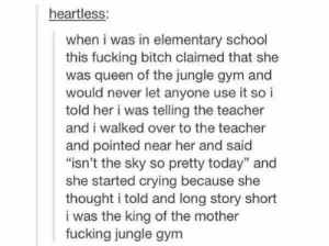 """Bitch, Crying, and Fucking: heartless:  when i was in elementary school  this fucking bitch claimed that she  was queen of the jungle gym and  would never let anyone use it so i  told her i was telling the teacher  and i walked over to the teacher  and pointed near her and said  """"isn't the sky so pretty today"""" and  she started crying because she  thought i told and long story short  i was the king of the mother  fucking jungle gym"""