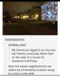 Birthday, Fml, and Ironic: heartlessdivine:  whiskey-neat  My friend just rigged it so she and  her friends could play Mario Kart  on the side of a house for  someone's birthday  Now the whole neighborhood can  watch as a friendship is blown away  by a blue turtle shell my twitter is fml_jade btw if any of you wanted to follow it