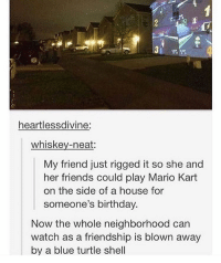 Mario Kart, Memes, and My House: heartlessdivine:  whiskey-neat:  My friend just rigged it so she and  her friends could play Mario Kart  on the side of a house for  someone's birthday.  Now the whole neighborhood can  watch as a friendship is blown away  by a blue turtle shell omg i want to do this to my house