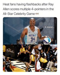 All Star, Memes, and Game: Heat fans having flashbacks after Ray  Allen scores multiple 4-pointers in the  All-Star Celebrity Game  NBAMEMES  3  AS Which team would you want to see him play for? 👀🔥 - Follow @_nbamemes._