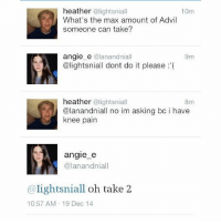 Advil, Girl Memes, and Iconic: heather  alightsniall  10m  What's the max amount of Advil  someone can take?  angle e  @lanandniall  9m  @lightsniall dont do it please  heather  @lightsniall  8m  @lanandniall no im asking bc i have  knee pain  angle e  @lan andniall  lights niall oh take 2  10:57 AM 19 Dec 14 iconic tweet