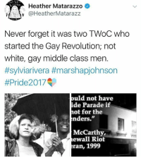 "FACTS 💯 Never forget it was two transgender women of color who started the gay revolution!: Heather Matarazzo *  @HeatherMatarazz  Never forget it was two TWoC who  started the Gay Revolution; not  white, gay middle class men.  #sylviarivera #marshapjohnson  #Pride20 17  ould not have  de Parade if  hot for the  nders.""  McCarthy,  ewall Riot  ran, 1999 FACTS 💯 Never forget it was two transgender women of color who started the gay revolution!"