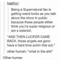 """Memes, Shit, and Weird: heathyr:  Being a Supernatural fan is  getting weird looks as you talk  about the show in public  because these people either  think you're super religious or  are a satanist.  """"AND THEN LUCIFER CAME  BACK. these angels are gonn  have a hard time sortin this out""""  other human: """"what in the shit""""  Other human ikr"""
