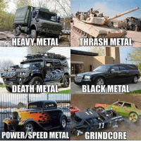Which one are you?: HEAVY METAL  THRASH METAL  DEATH METAL BLACK METAL  POWER/SPEED METAL  GRINDCORE Which one are you?