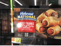 Anaconda, Baked, and Beef: Hebrew  NATIONA  BEEF FRANKS  Blanket  MCUTS of 100% KOSHER BEEF  JUST BAKE & SERVE-  U.S  NSPECTED  AND PASSED  ENLARGED  SHOW TEXTU  EPARTMENT OF  EST. 44  NET WT 1840  A KEP FROZEN  PIECES MUST BE BAKED THOROUGHLY  PER  24051  SERVING 531  SUGGESTION SRVING  ugars  oV  DV  UNIT PRICE  1347  RETAIL PRICE  88 0001.HBNFRNKS IN & BLNKT1  200749  alue