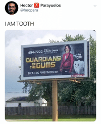 Braces, Dank Memes, and Hector: Hector A Parayuelos  @hecpara  I AM TOOTH  654-7222 ArDente Dental  Jl M. Snyder, DDS  GUARDIANSTOT  OF  THE GUMS  BRACES $199/MONTH  Burkhart @hecpara