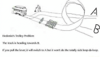 Hedonist's Trolley Problem  The track is heading towards B.  If you pull the lever, it will switch to A but it won't do the totally sick loop da-loop. Hedonist Problem