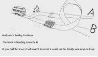 Sacrifices must be made: Hedonist's Trolley Problem  The track is heading towards B.  If you pull the lever, it will switch to A but it won't do the totally sick loop-da-loop. Sacrifices must be made