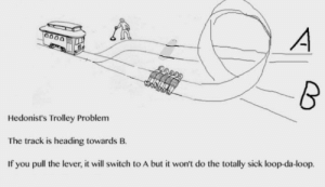 Dank, Memes, and Target: Hedonist's Trolley Problem  The track is heading towards B.  If you pull the lever, it will switch to A but it won't do the totally sick loop-da-loop. Sacrifices must be made by recneps_ MORE MEMES
