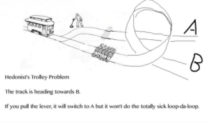 Sick, Trolley, and MeIRL: Hedonist's Trolley Problem  The track is heading towards B.  If you pull the lever, it will switch to A but it won't do the totally sick loop-da-loop. meirl