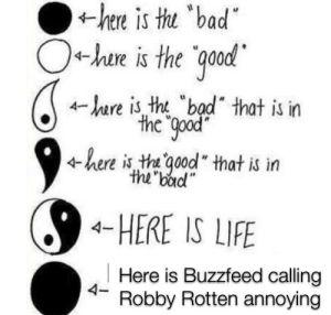 "Bad, Do It Again, and Life: hee is tu bad  O+hae is the qood  r is tht ""bad"" that is in  the good  here is th qood that is irn  the bad""  4-HERE IS LIFE  Here is Buzzfeed calling  4- Robby Rotten annoying They better not do it again"