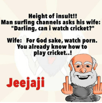 """God, Memes, and Cricket: Height of insult!!  Man surfing channels asks his wife:  """"Darling, can i watch cricket?""""  Wife: For God sake, watch porn.  You already know how to  play cricket..!  Jeejaji Trolled jeejaji"""