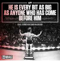 In three short years, Conor McGregor has redefined MMA. Is it hype? Or is it greatness at work? BRmag (Read the full story in the B-R app - link in bio): HEISEVERY BITAS BIG  AS ANYONE WHO HAS COME  BEFORE HIM  -CHAEL SONNEN ONCONOR McGREGOR  MGM  GRAN  MGM GRAND  DolrMAG In three short years, Conor McGregor has redefined MMA. Is it hype? Or is it greatness at work? BRmag (Read the full story in the B-R app - link in bio)