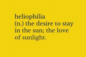 sunlight: heliophilia  (n.) the desire to stay  in the sun; the love  of sunlight.