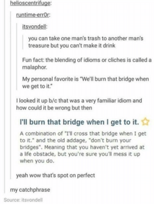 """Malaphor: helioscentrifuge:  runtime-errOr:  itsvondell:  you can take one man's trash to another man's  treasure but you can't make it drink  Fun fact: the blending of idioms or cliches is called a  malaphor.  My personal favorite is """"We'll burn that bridge when  we get to it.""""  I looked it up b/c that was a very familiar idiom and  how could it be wrong but then  I'll burn that bridge when I get to it.  A combination of """"Ill cross that bridge when I get  to it."""" and the old addage, """"don't burn your  bridges"""". Meaning that you haven't yet arrived at  a life obstacle, but you're sure you'll mess it up  when you do.  yeah wow that's spot on perfect  my catchphrase  Source: itsvondell Malaphor"""
