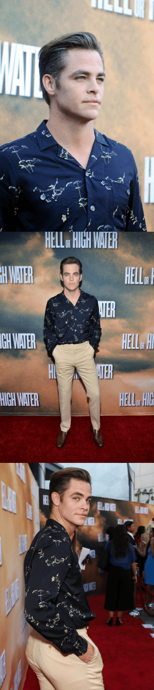 "Chris Pine, Fake, and Gif: HELL  HIGH  WATE  GH  WATER  HELL HIG peppapigvevo:  itreallyisthelittlethings:  james-tee:  ""I wanted to look like, I told my stylist, I was like, 'Let's just go for a Nashville country singer that's on his way to Miami in a [Chevrolet Bel Air], and then became a hit-man for the mob and lives in Little Cuba. We came up with this f—ing bitchin' little outfit that I loved and so it could be that."" - Chris Pine  quote, pictures        thats how a drag race queen describes her runway look"