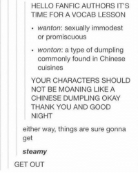 Hello, Memes, and Thank You: HELLO FANFIC AUTHORS IT'S  TIME FOR A VOCAB LESSON  wanton: sexually immodest  or promiscuous  wonton: a type of dumpling  commonly found in Chinese  cuisines  YOUR CHARACTERS SHOULD  NOT BE MOANING LIKE A  CHINESE DUMPLING OKAY  THANK YOU AND GOOD  NIGHT  either way, things are sure gonna  get  steamy  GET OUT wonton -jenn (ps; follow @morning_photography_ they wanna follow their dreams💓⭐️☺️)