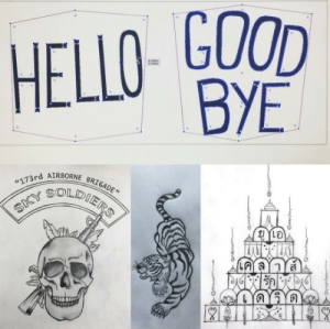 "diegohargreeves:  thebrownartist: ""Hello""  ""Goodbye"". I had the pleasure of redesigning those ever famous Klaus  Hello & Goodbye hand tattoos; along with every other tattoo found on  Klaus post Vietnam.  The Sky Soldiers shoulder tat, the back tiger tat,  and the Thai temple abdomen tat were all original sketches by thebrownartist.   [Side Note - the temple tattoo reads UA - Klaus loves Dave] thanks @kenbunprasert for your help! via  Trason Fernandes  instagram (thebrownartist): HELLO- GOOD  BYE  RIM   173rd AIRBORNE BRIGADE""  SKY SOLDIERS  จาก  bYaYYa  wew  wve  wwwa diegohargreeves:  thebrownartist: ""Hello""  ""Goodbye"". I had the pleasure of redesigning those ever famous Klaus  Hello & Goodbye hand tattoos; along with every other tattoo found on  Klaus post Vietnam.  The Sky Soldiers shoulder tat, the back tiger tat,  and the Thai temple abdomen tat were all original sketches by thebrownartist.   [Side Note - the temple tattoo reads UA - Klaus loves Dave] thanks @kenbunprasert for your help! via  Trason Fernandes  instagram (thebrownartist)"