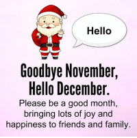Hello: Hello  Goodbye November,  Hello December  Please be a good month,  bringing lots of joy and  happiness to friends and family