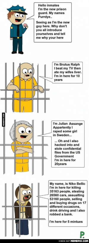 Last one sounds like an avarage GTA V playeromg-humor.tumblr.com: Hello inmates  I'm the new prison  guard. My names  Purrdye..  Seeing as I'm the new  guy here. Why don't  you all introduce  yourselves and tell  me why your here  I'm Brutus Ralph  I beat my TV then  ate my wifes liver.  I'm in here for 10  years  I'm Julian Assange  Appartently I  raped some girl  in Sweden...  Oh and I also  ...  hacked into and  stole confidential  files from the US  Government  I'm in here for  20years  My name, is Niko Bellic  I'm in here for killing  35163 people, stealing  26560 cars, assualting  53160 people, selling  and buying drugs on 17  different occasions,  drink driving and I also  robbed a bank.  I'm here for 5 mintues  P.  CHECK OUT MEMEPIX.COM  MEMEPIX.COM Last one sounds like an avarage GTA V playeromg-humor.tumblr.com