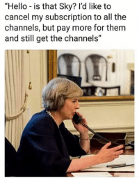 "Hello, Memes, and All The: ""Hello is that Sky? l'd like to  cancel my subscription to all the  channels, but pay more for them  and still get the channels"""