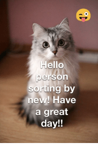Daily Dose of Happiness #2: Hello  person  sorting by  new! Have  a great  day!! Daily Dose of Happiness #2