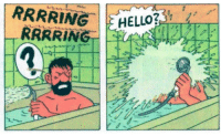 Fucking, Head, and Hello: HELLO?  RRRR ING orelpuppington:  i LAUGH EVERY TIME I SEE THIS FUCKING PICTURE ring ring HELLO??? captain haddock asks, shoving the shower head against his face as water shoots out of it. HELLO??