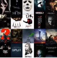 Bloods, Chucky, and Dank: HELLRAISER  WORLD WAR  URING  THERE WAS  THE  NT TN  SAUVIIL  NABELLI  NIGH  T SHYAMALAN  SPLIT  2017  2017  KONG  AMITYVILLE  CHUCKY  A L  I E N  UNDERWORLD  BLOOD WARS  IN THEATERS  JANUARY 6 2017 looking good