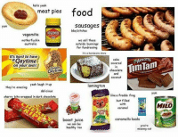 Food, Juice, and Memes: hells yeah  meat pies food  sausages  bbq bitches  Yum  EGEMITE  vegemite  motherfuckin  australia  we sell these  outside bunnings  for fundraising  it's a hardwore store  It's hard to have  aGaytime  cake  covered  in  ARNOTTS  in  chocolate  and  coconut  TimTam  den  Caytime  they're amazing yeah laugh it up  lamington  delicious  yum  like a freddo frog  but filled  cherry bits wrappcd in dark chocolate  caramel  caramello koala  boost juice  we can bc  healthy too  you're  missing out Comment your favourite Aussie snack