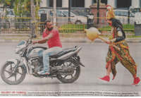 "God, Police, and Traffic: HELMET OR YAMRAJ: An artiste dressed as Yamrai dord of death) runs behind a motorist riding without a helmet as part of a Road Safety Week  campaign organised by traffic police in Bangalore on Tuesday. The campaign aims to spread awareness about the importance of traffic safety rules. (AFP) <p><a href=""https://loloftheday.tumblr.com/post/175786683033/so-indian-police-had-a-guy-dress-up-as-god-of"" class=""tumblr_blog"">loloftheday</a>:</p> <blockquote><h2>So Indian Police had a guy dress up as God of Death to chase people not wearing helmets</h2></blockquote>"