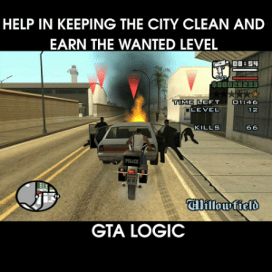 Logic, Police, and Help: HELP IN KEEPING THE CITY CLEAN AND  EARN THE WANTED LEVEL  OB:54  0-22  LEFT По 1:46  12  TIME  LEVEL  KILLS  POLICE  GTA LOGIC help in keeping