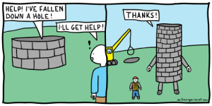 Anaconda, Help, and Com: HELP! I'VE FALLEN  DOWN A HOLE!  THANKS  LL GET HELP  mikeorganisciak com [OC] Im making a comic everyday for 100 days. Heres day 29.